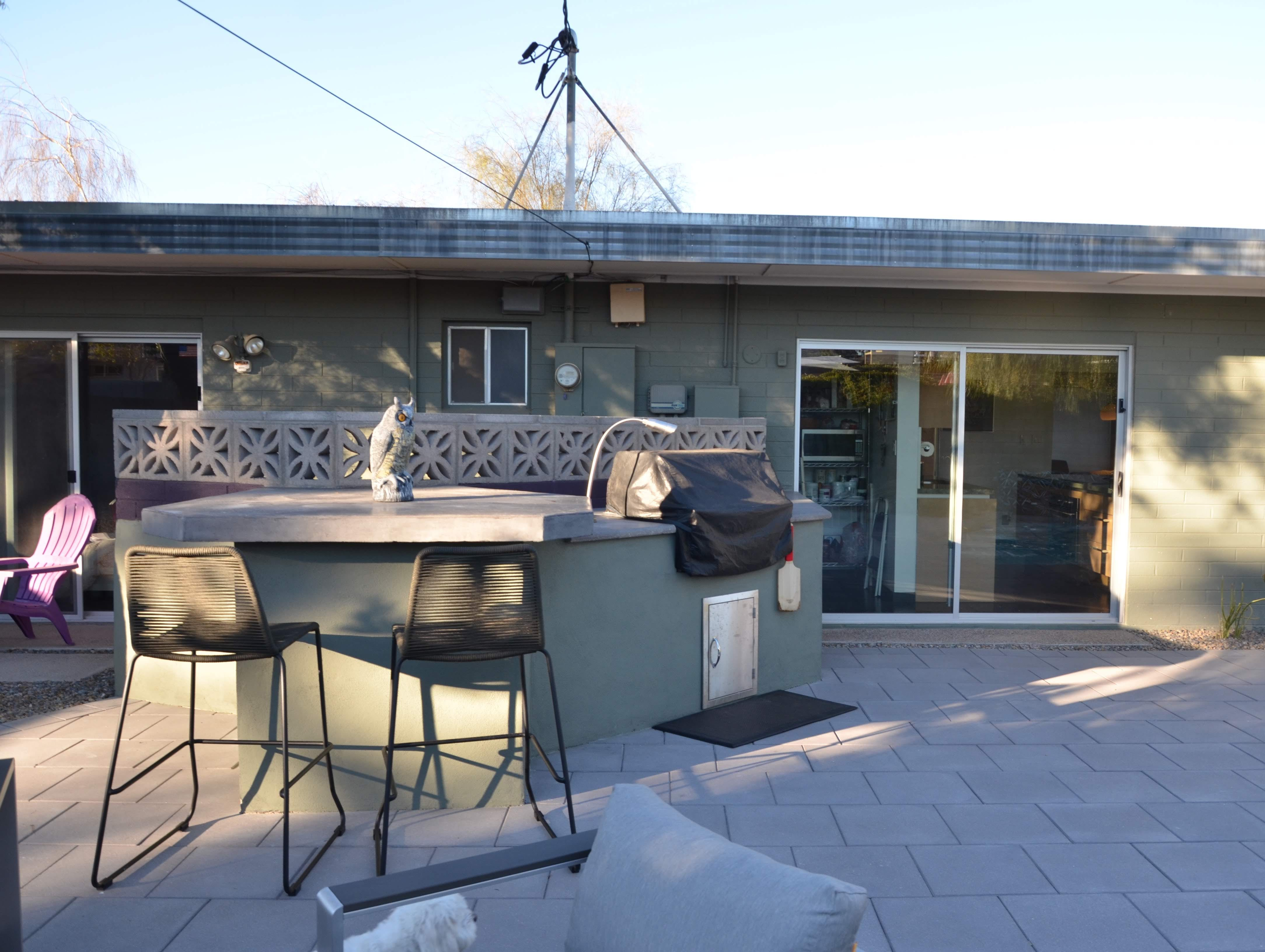 The backyard renovation also included the construction of a custom grilling area just off of the kitchen.