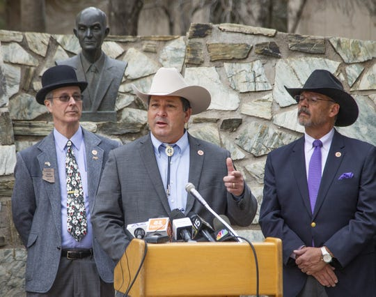 Rep. David Cook, R-Globe, speaks at a press conference at the Capitol in Phoenix with farmers and others from Pinal County to talk about their overall support for the drought contingency plan, Tuesday, January 15, 2019.