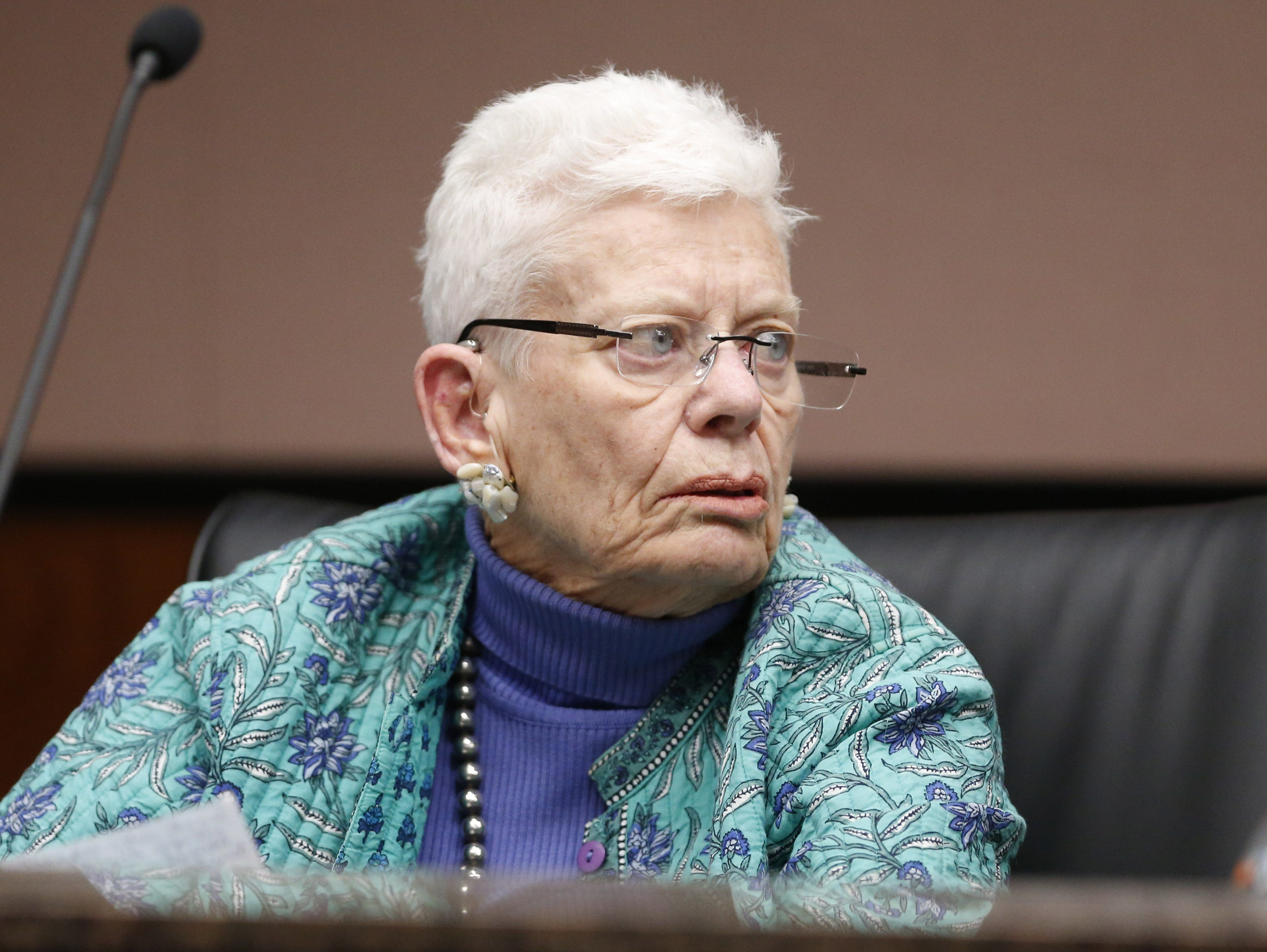 Board member Jean McGrath listens during a special meeting of the Maricopa County Community College District Governing Board in Tempe January 15, 2019.