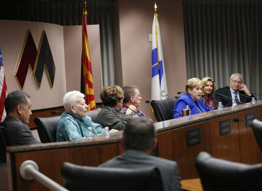 Newly elected board President Linda Thor speaks during a special meeting of the Maricopa County Community College District Governing Board in Tempe January 15, 2019.