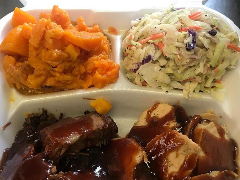 Barbecue, sweet potatoes and coleslaw from Sweet Magnolia Smokehouse.
