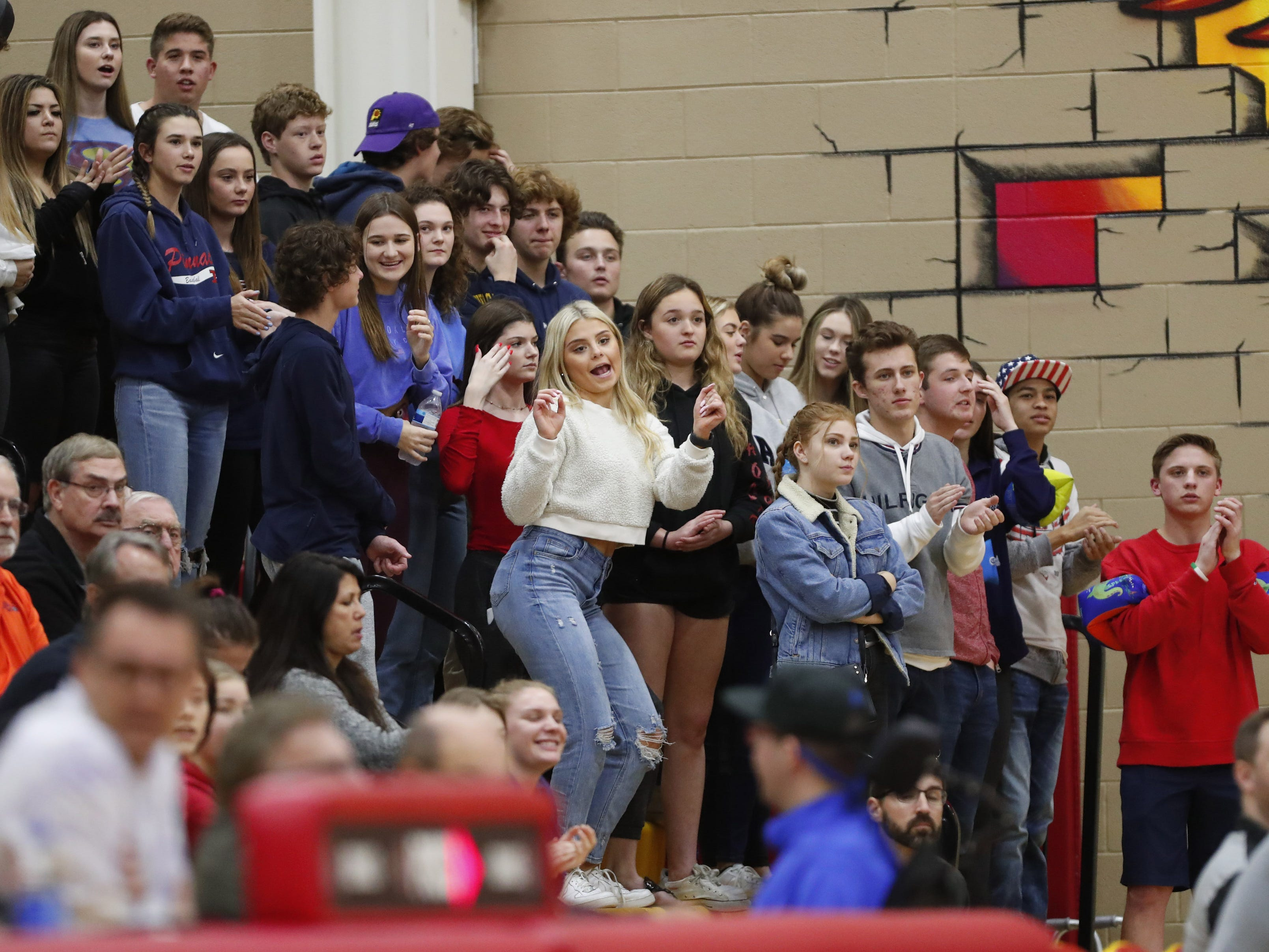 Pinnacle students cheer for their team against Chaparral in Scottsdale January 15, 2019.
