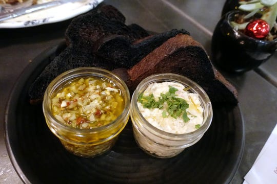 Smoked farm raised catfish dip with pickled celery relish and burnt brown bread at The Larder + The Delta in Phoenix.