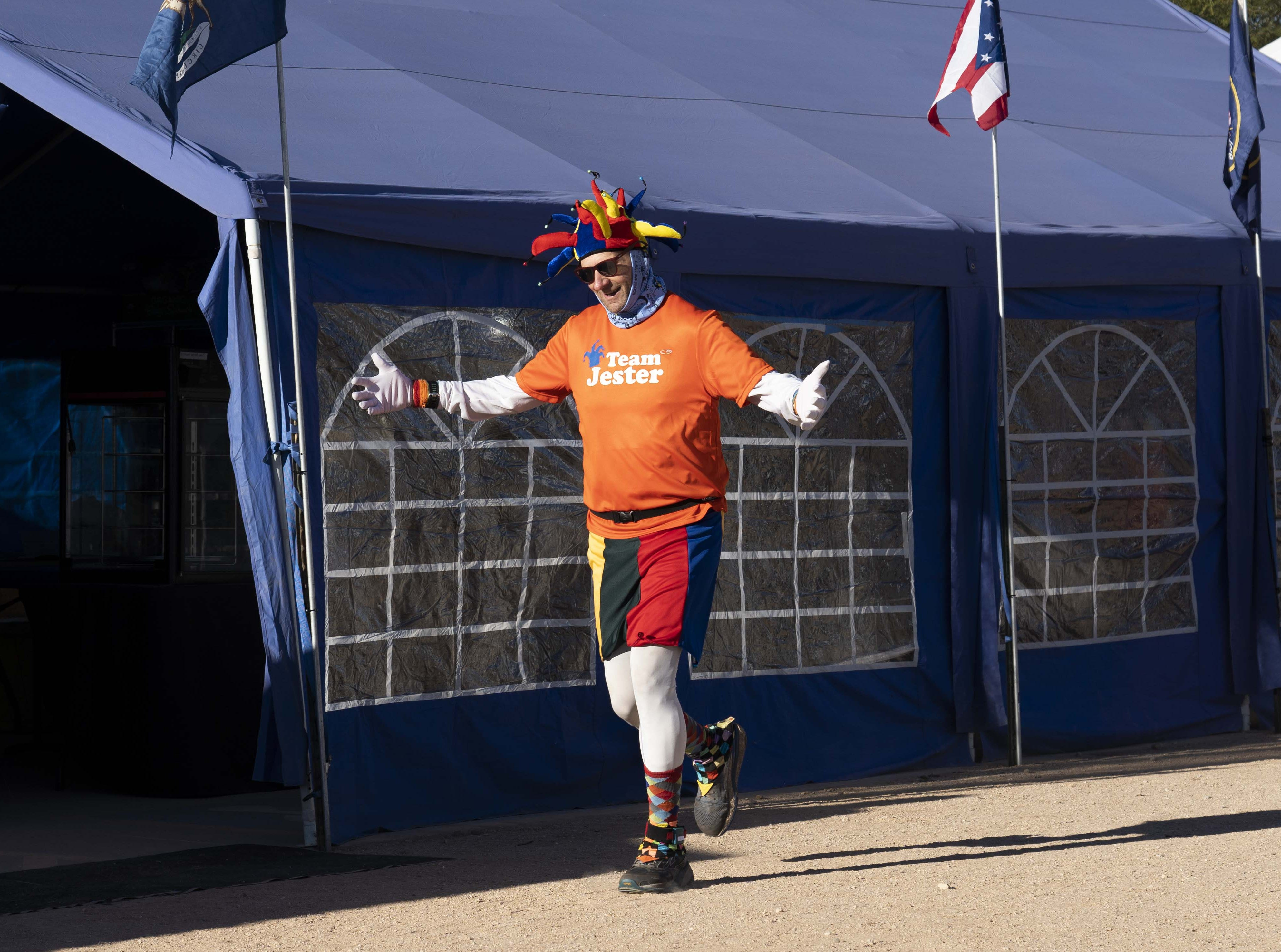 Ed Ettinghausen dressed as a jester to run the 2019 Across the Years ultramarathon at Camelback Ranch in Glendale, AZ.