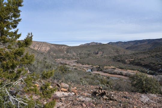 Glimpse of Tonto Creek from the difficult downhill hike.