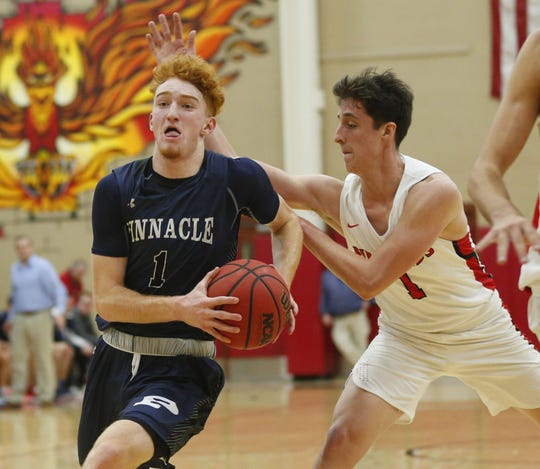 Pinnacle's Nico Mannion (1) drives towards the basket against Chaparral's Alem Huseinovic on Tuesday.