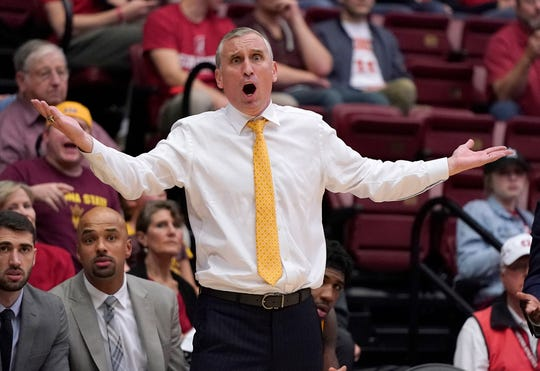 Arizona State coach Bobby Hurley reacts to a foul call during the second half of the team's NCAA college basketball game against Stanford in Stanford, Calif., Saturday, Jan. 12, 2019. Stanford won 85-71.
