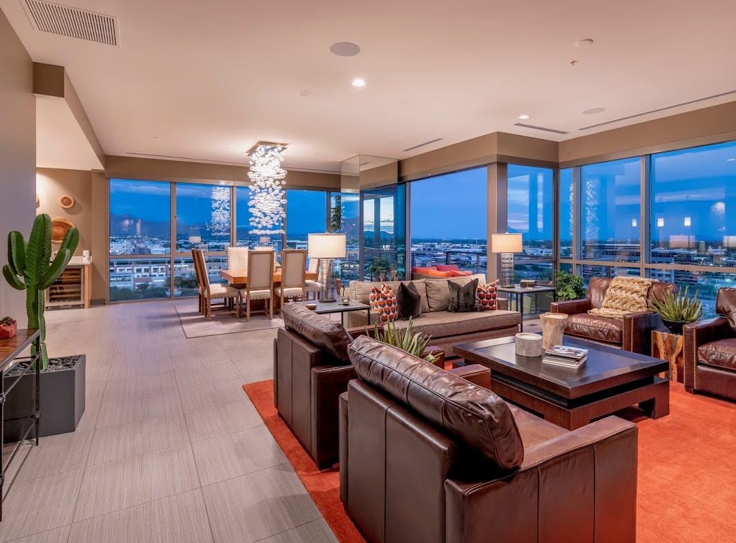 JoAnn L. Musselman purchased this south facing Scottsdale penthouse condominium for $3.33 million.