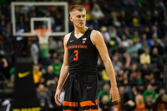 Oregon State Beavers forward Tres Tinkle (3) watches as a teammate shoots a free throw during the second half against the Oregon Ducks at Matthew Knight Arena Jan. 5. The Beavers beat the Ducks 77-72. Troy Wayrynen-USA TODAY Sports