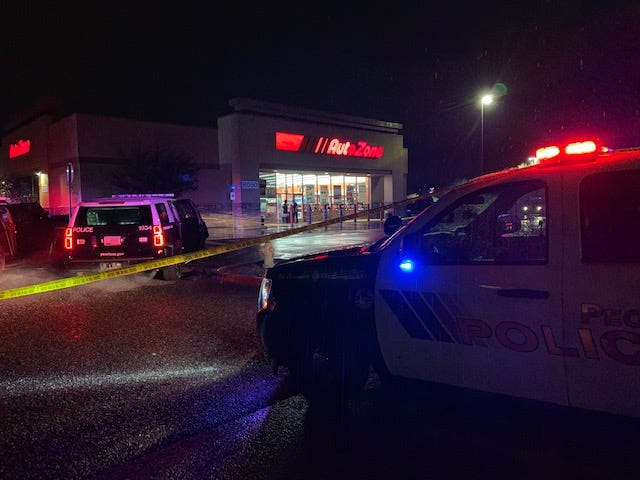 A Peoria police officer shot and wounded a 17-year-old armed robbery suspect at an Auto Zone on 91st Avenue on Jan. 14, 2019.