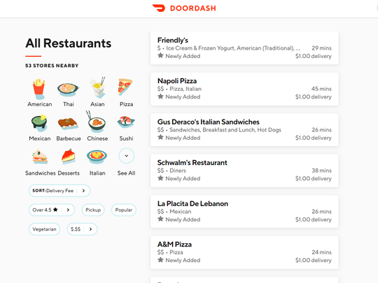 At any given time, around 50 restaurants were in our delivery zone at Lebanon Daily News thanks to DoorDash, which conveniently lists wait times and delivery fees as well.