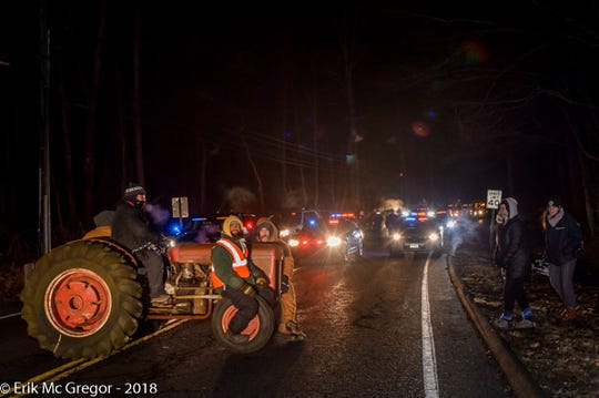 Four New Yorkers were arrested early morning on Jan. 16, 2019 for using a tractor to block a cargo shipment on Route 55 in New Milford, Connecticut. destined for the Cricket Valley Energy Center construction site, a massive 1100-megawatt gas-fired power plant under construction in Wingdale, New York.