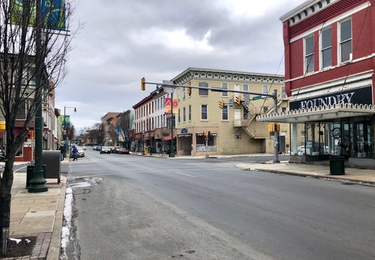 "South Main Street pictured the afternoon of Wednesday, Jan. 16. The updated comprehensive plan could include rules on what kinds of buildings are allowed downtown and other stipulations for properties, to promote ""urbanism."""
