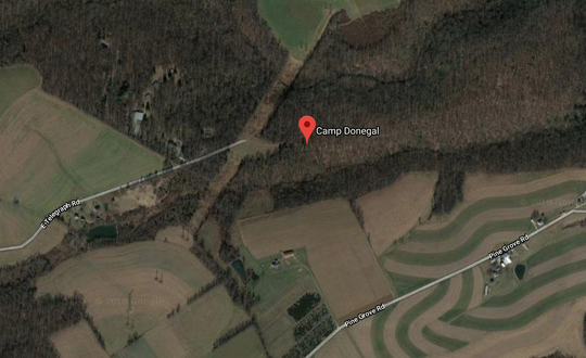 An aerial view of where Camp Donegal is located in Airville.