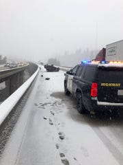 A car rolled on its roof in the middle of the Hirschdale Bridge on Interstate 80 near Truckee on the afternoon of Tuesday, Jan. 15.