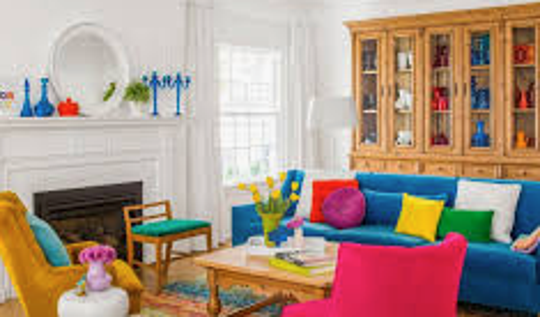 A colorful living room in the former Breen house.