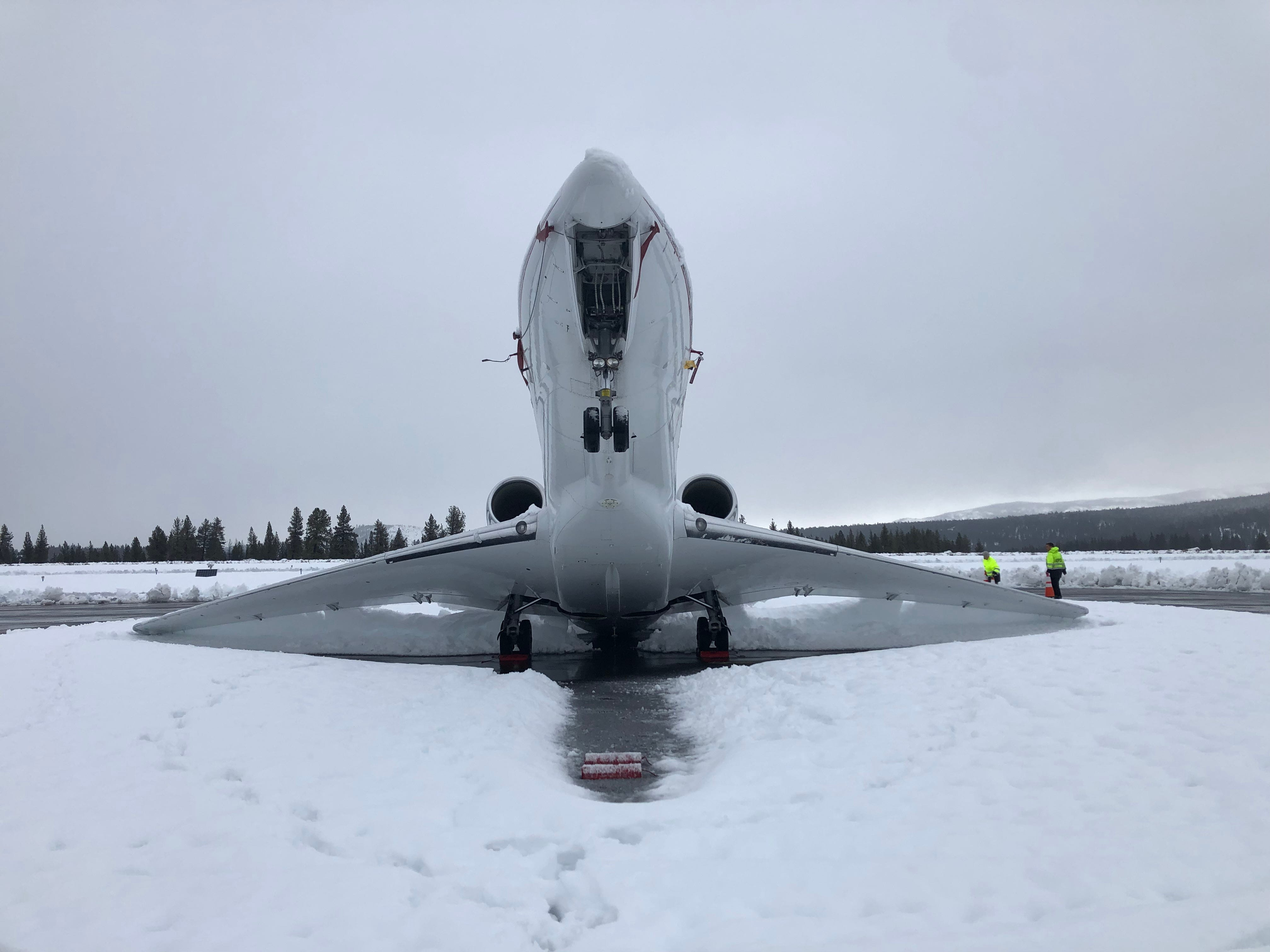 Over 16 inches of wet, dense snow at the Truckee Tahoe Airport caused a Cessna Citation X business jet to do a tail stand in its outdoor parking spot on Jan. 16, 2019.