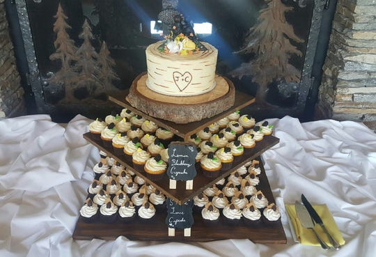 A Bakery Built for Two will do the set-up at events, as with this aspen tree cake and cupcake display.