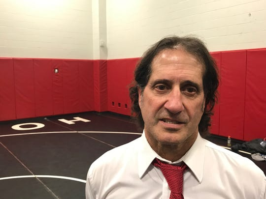 John Grillo in the wrestling room at Holley, during his 44th and final season.