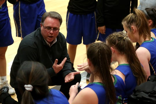 McKay head coach Jim White talks to the bench during the Sprague vs. McKay girls basketball game at Sprague High School in Salem on Monday, Jan. 15, 2019.