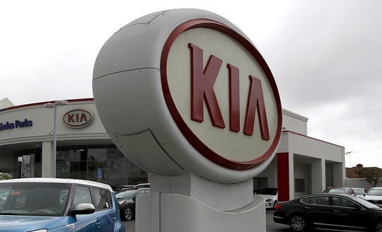 A Sign With The Kia Logo Displayed At Hyundai Dealership On April 7 2017