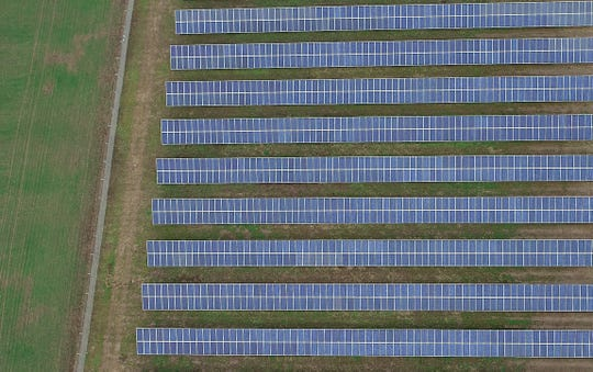 An aerial view in January 2019 of a solar farm owned by Volcano Solar, LLC on 35th Avenue NE in Keizer.