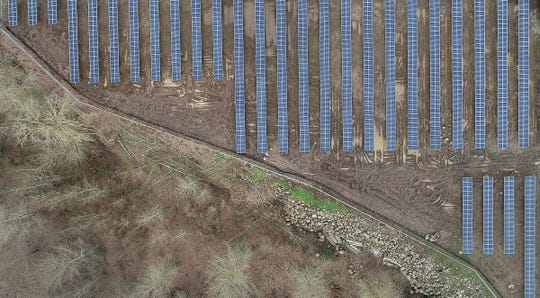 An aerial view of a solar farm owned by Volcano Solar, LLC on 35th Avenue NE in Keizer Tuesday January 15, 2019.