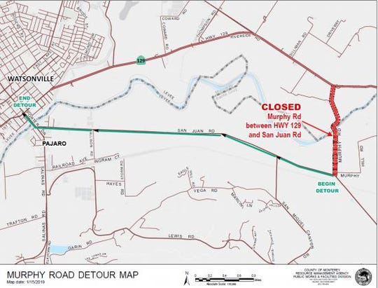 Detour map during Murphy Road closure.