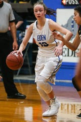Eden's Marlee Odom dribbles the ball around Menard Tuesday, Jan. 15, 2019, at Eden High School. Eden girls won 36-22.