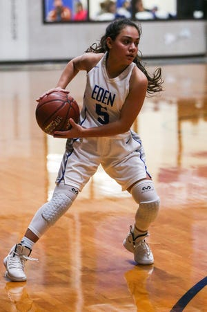 Eden's Sofia Regalado passes the ball around Menard Tuesday, Jan. 15, 2019, at Eden High School. Eden girls won 36-22.