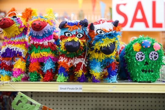 A display of small piñatas at Leos Imports.