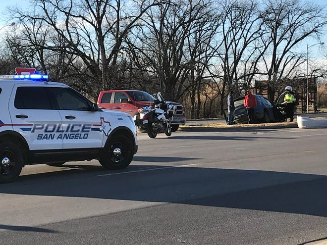 First responders work the scene of a wreck on 11th and N. Bryant in San Angelo on Wednesday afternoon, Jan. 16, 2019