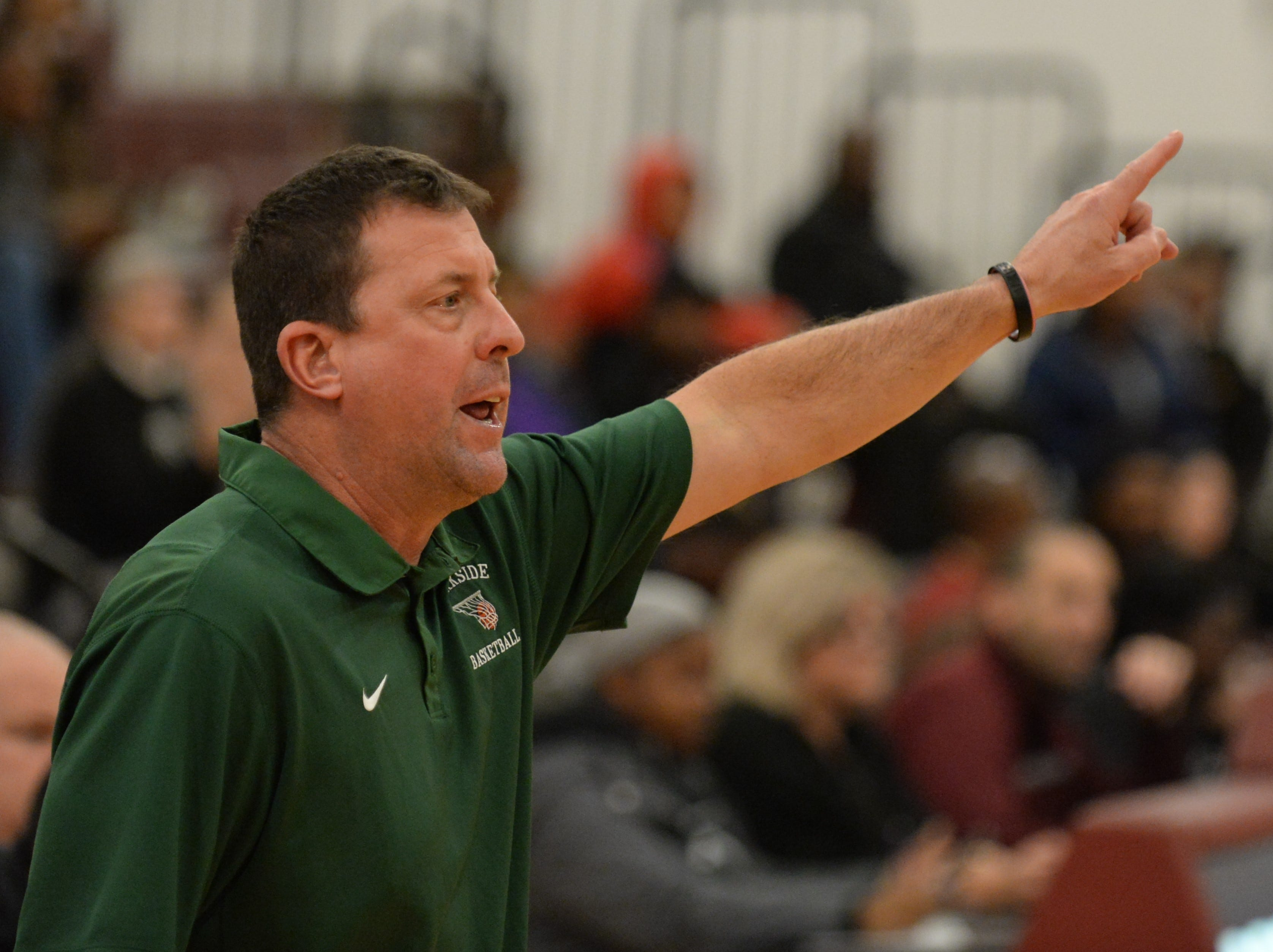 Parkside head coach David Byer signals to his team against Snow Hill on Tuesday, Jan. 15, 2019.