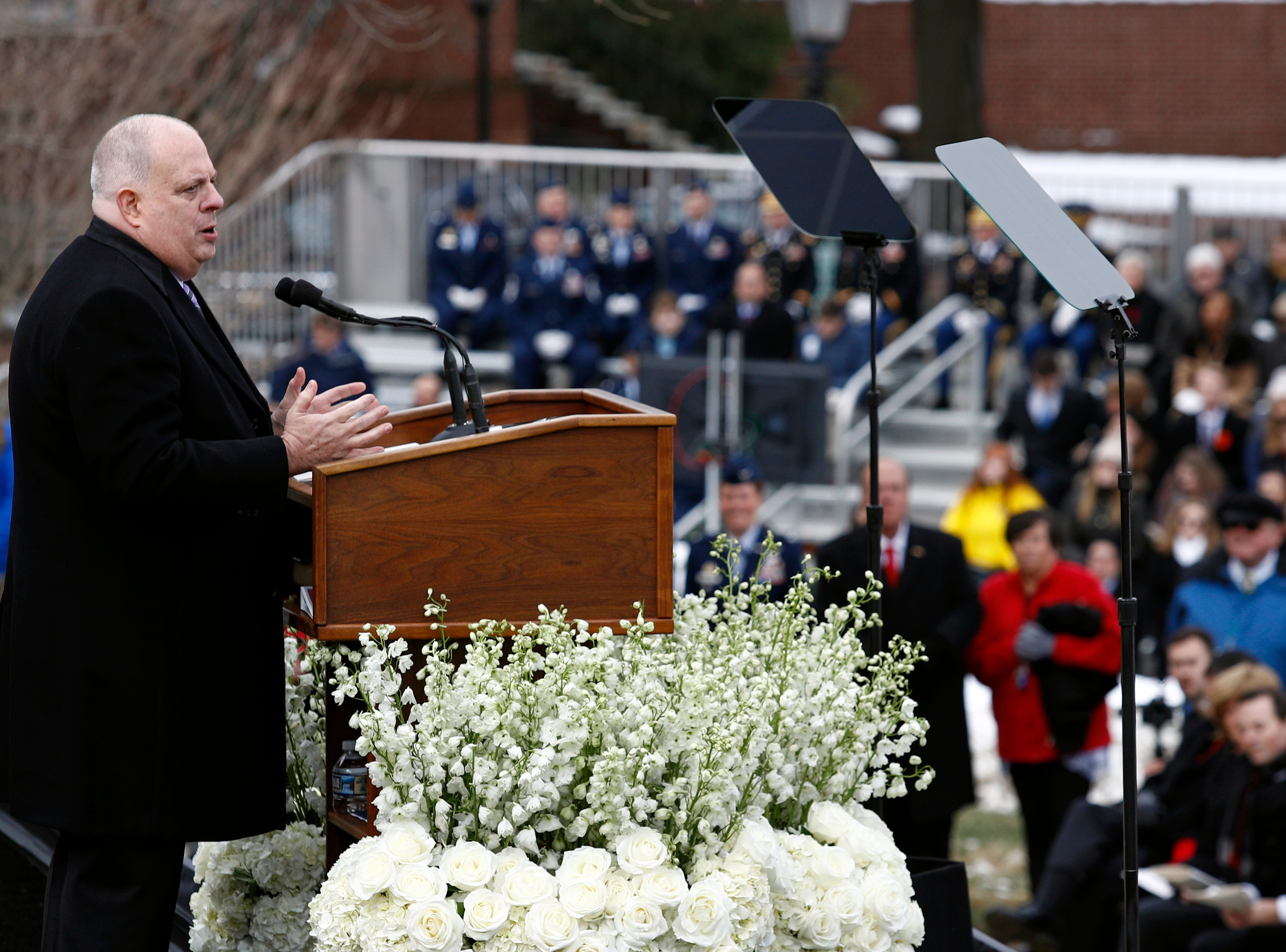 Maryland Gov. Larry Hogan delivers remarks at his inauguration ceremony Wednesday, Jan. 16, 2019, in Annapolis.