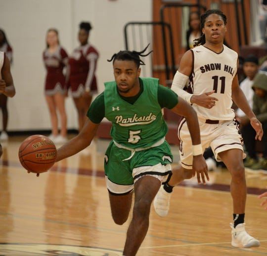 Parkside's Marcus Yarns sprints down court against Snow Hill on Tuesday, Jan. 15, 2019.