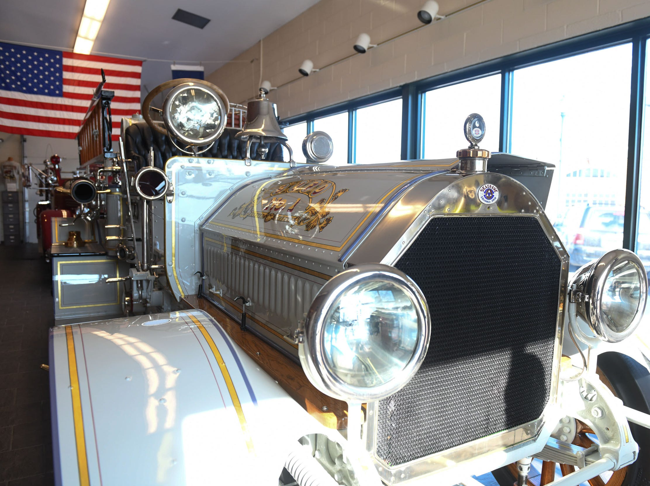 "Seaford Volunteer Fire Department No.1 Truck- A 1919 Seagrave- Chemical & Pumper ""Car"" was delivered to Seaford in 1921. It was totally restored in 2001."
