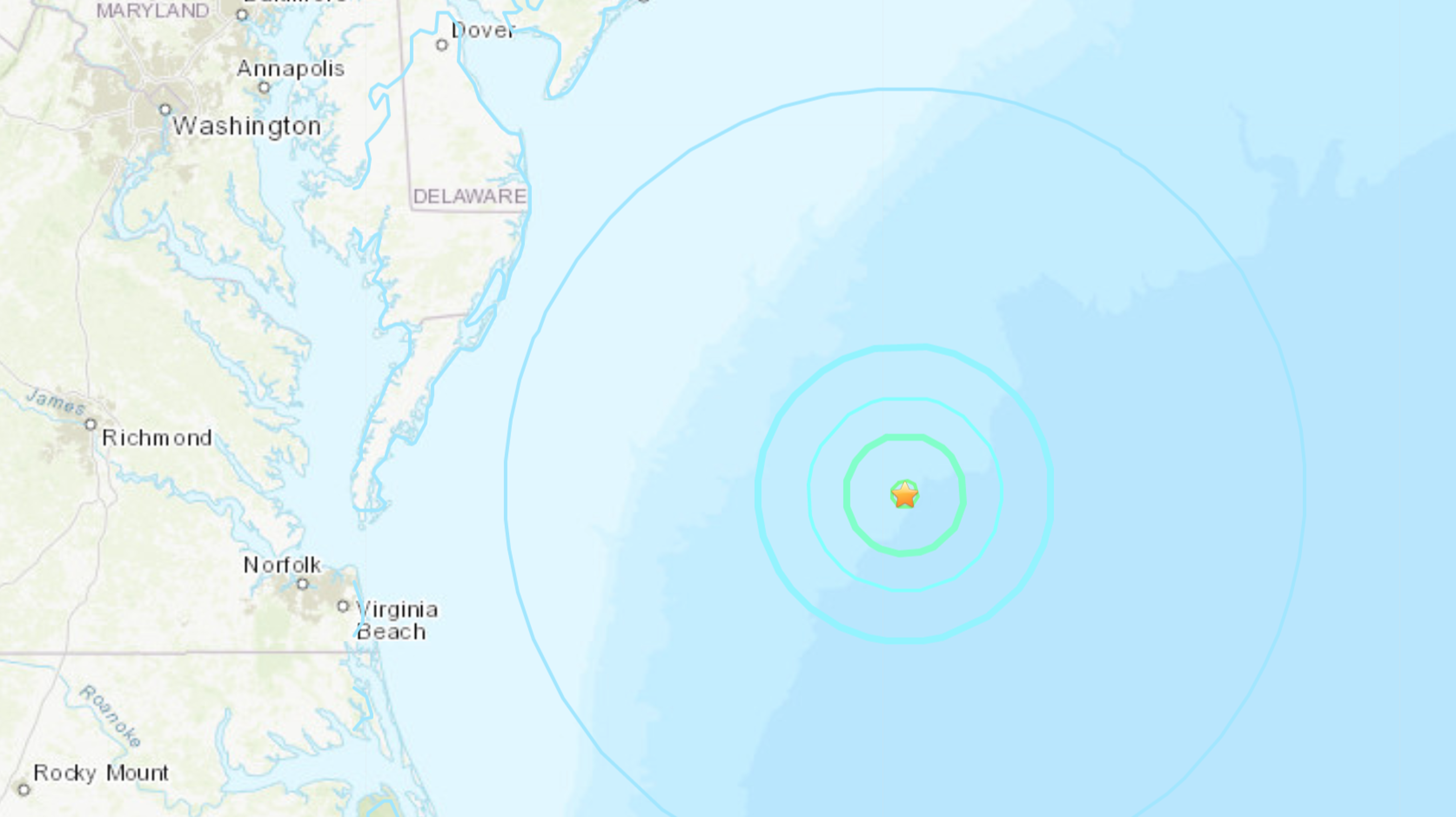 4.7 magnitude earthquake reported off coast of Ocean City, Maryland