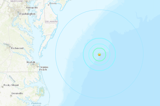 A 4.6 magnitude earthquake was reported 136 miles off the coast of Ocean City, Maryland on Jan. 15, 2019.