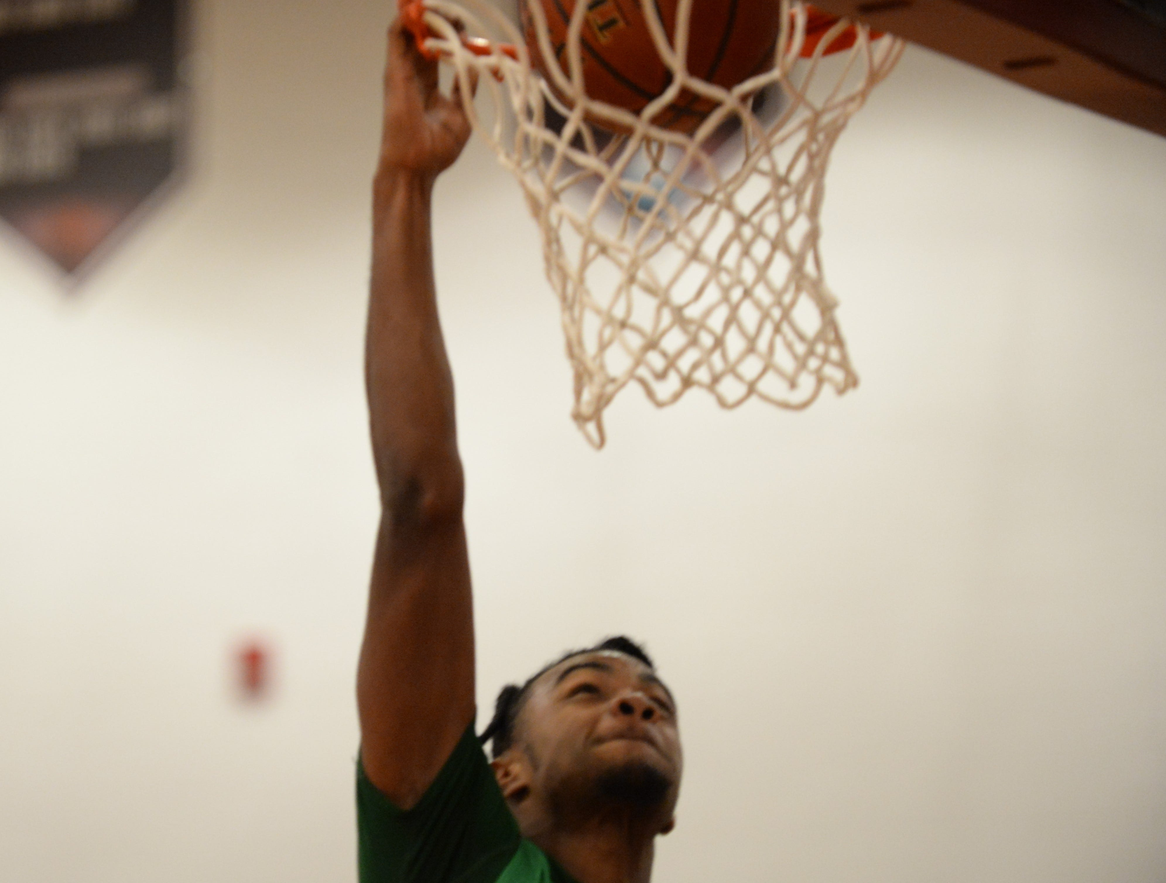 Parkside's Marcus Yarns attempts a dunk against Snow Hill on Tuesday, Jan. 15, 2019.