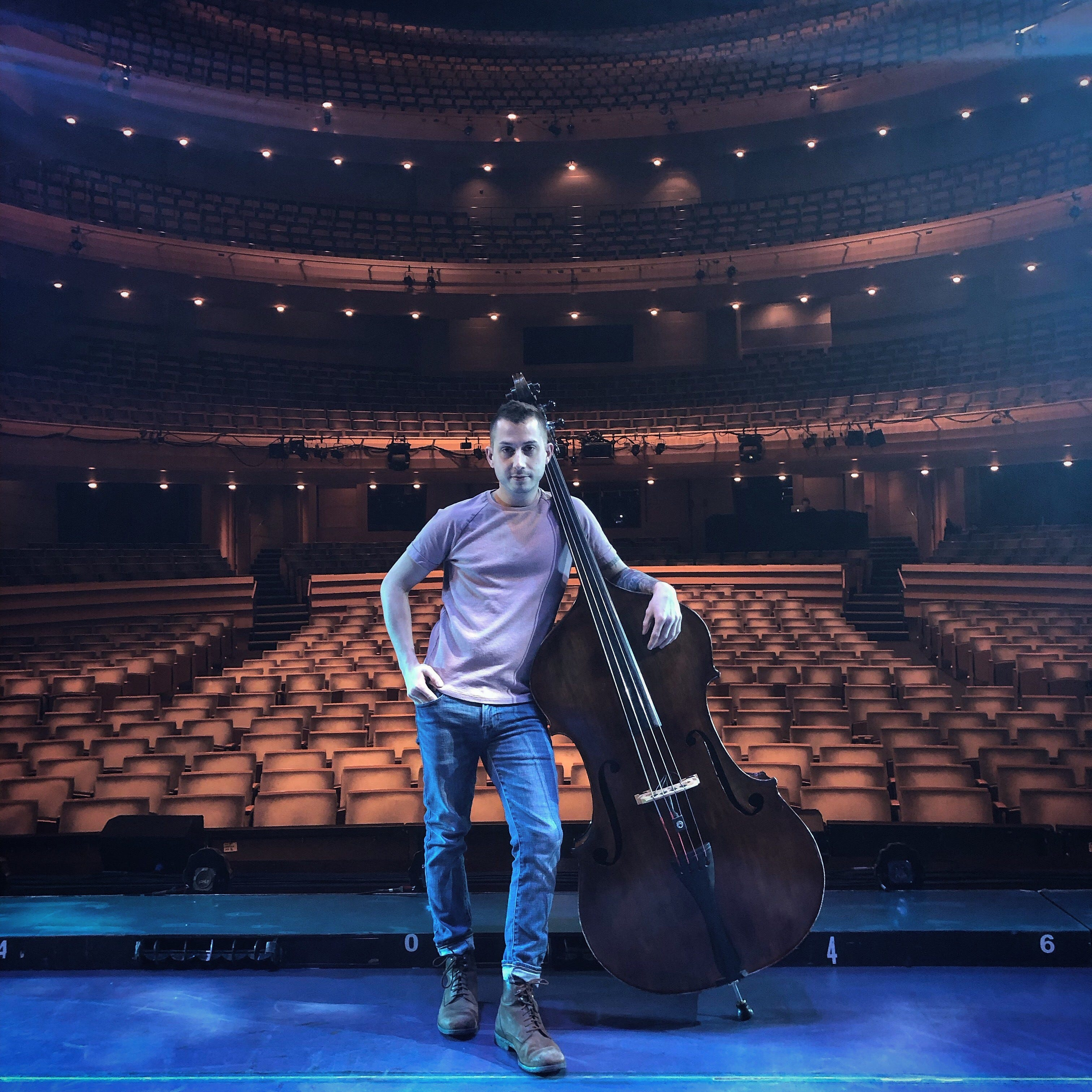He learned to play bass in Sheboygan. Now he's touring the world with Broadway shows.