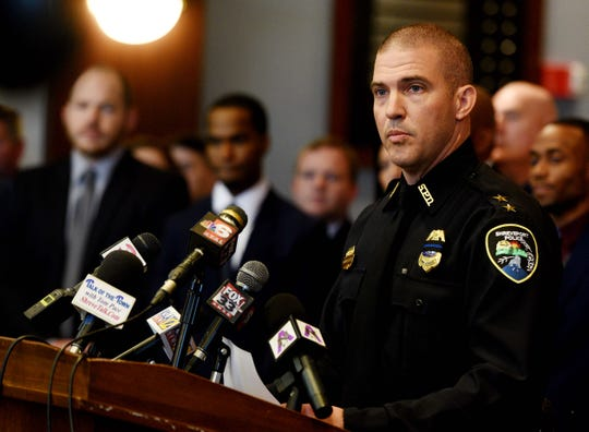 Acting Shreveport Police Chief Ben Raymond during the press conference Wednesday, January 16, 2019, about the arrests made in the killing of Shreveport Police Officer Chateri Payne.