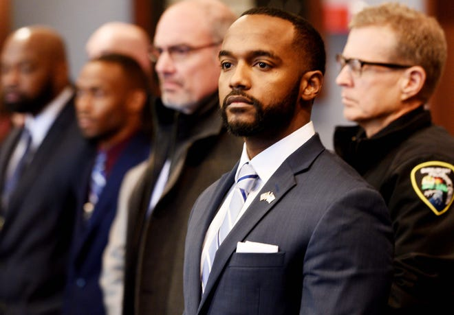 Shreveport mayor Adrian Perkins during the press conference Wednesday, January 16, 2019, about the arrests made in the killing of Shreveport Police Officer Chateri Payne.