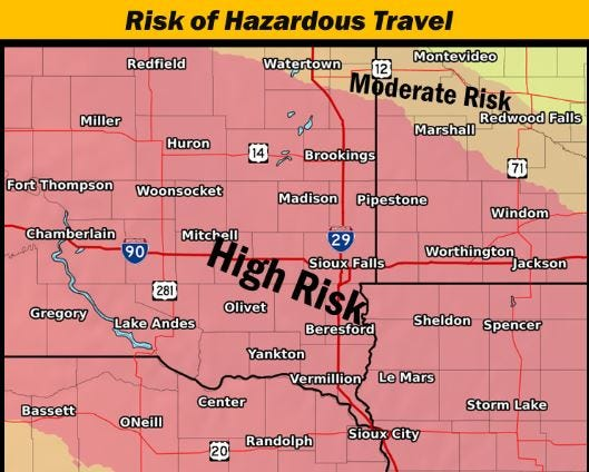 Risk of hazardous travel on Friday, Jan. 18, 2019 due to at least three inches of snow falling throughout the area.
