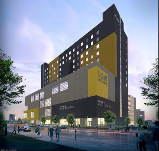 New renderings of Village on the River show the formerly blue and yellow, 15-story building will now be black and yellow.