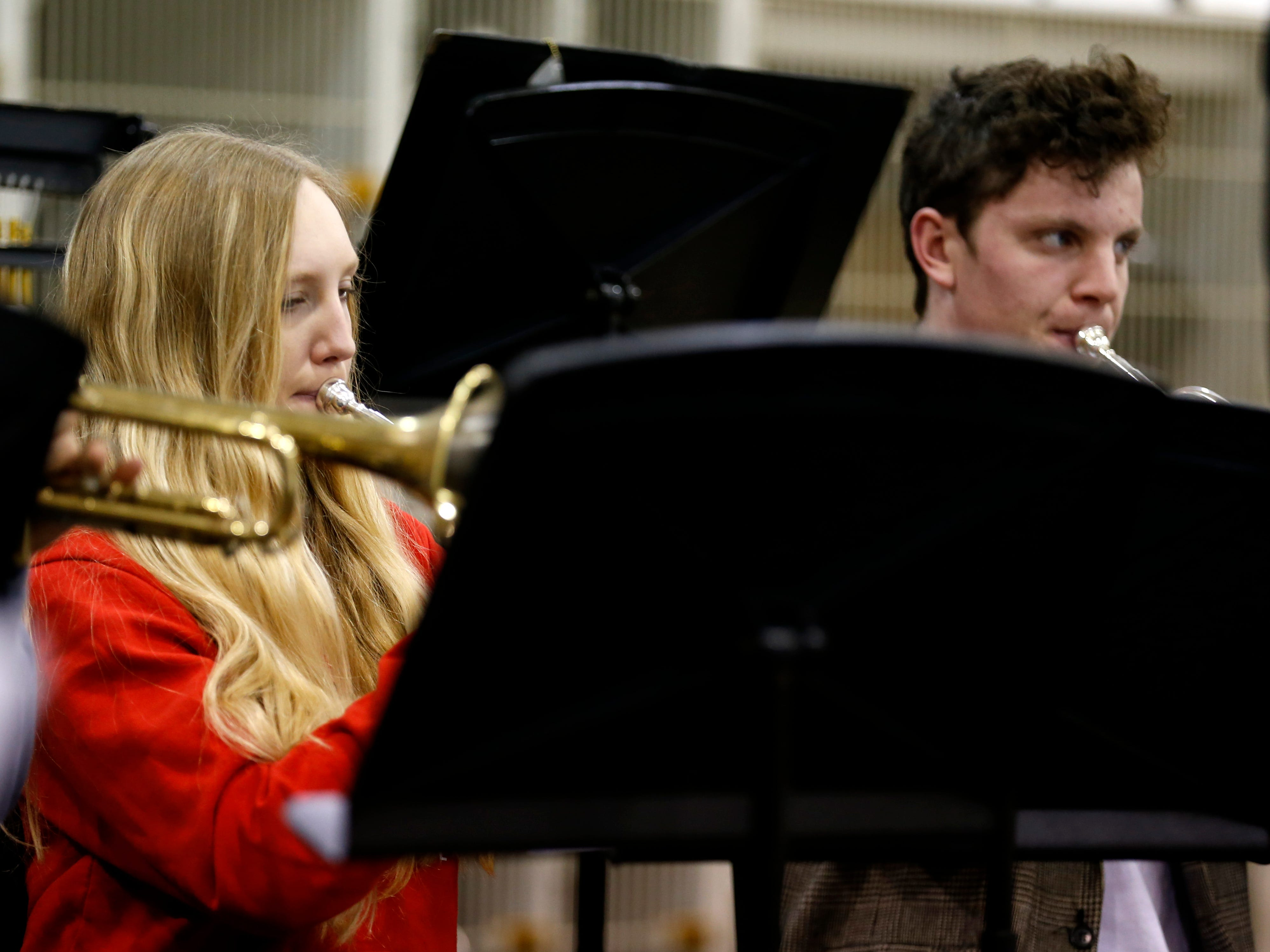 Britany Oliver, a Central High School senior, plays the trumpet during band practice on Wednesday, Jan. 16, 2018. The 53-student wind ensemble will be a featured at the annual state conference of the Missouri Music Educators Association next week.