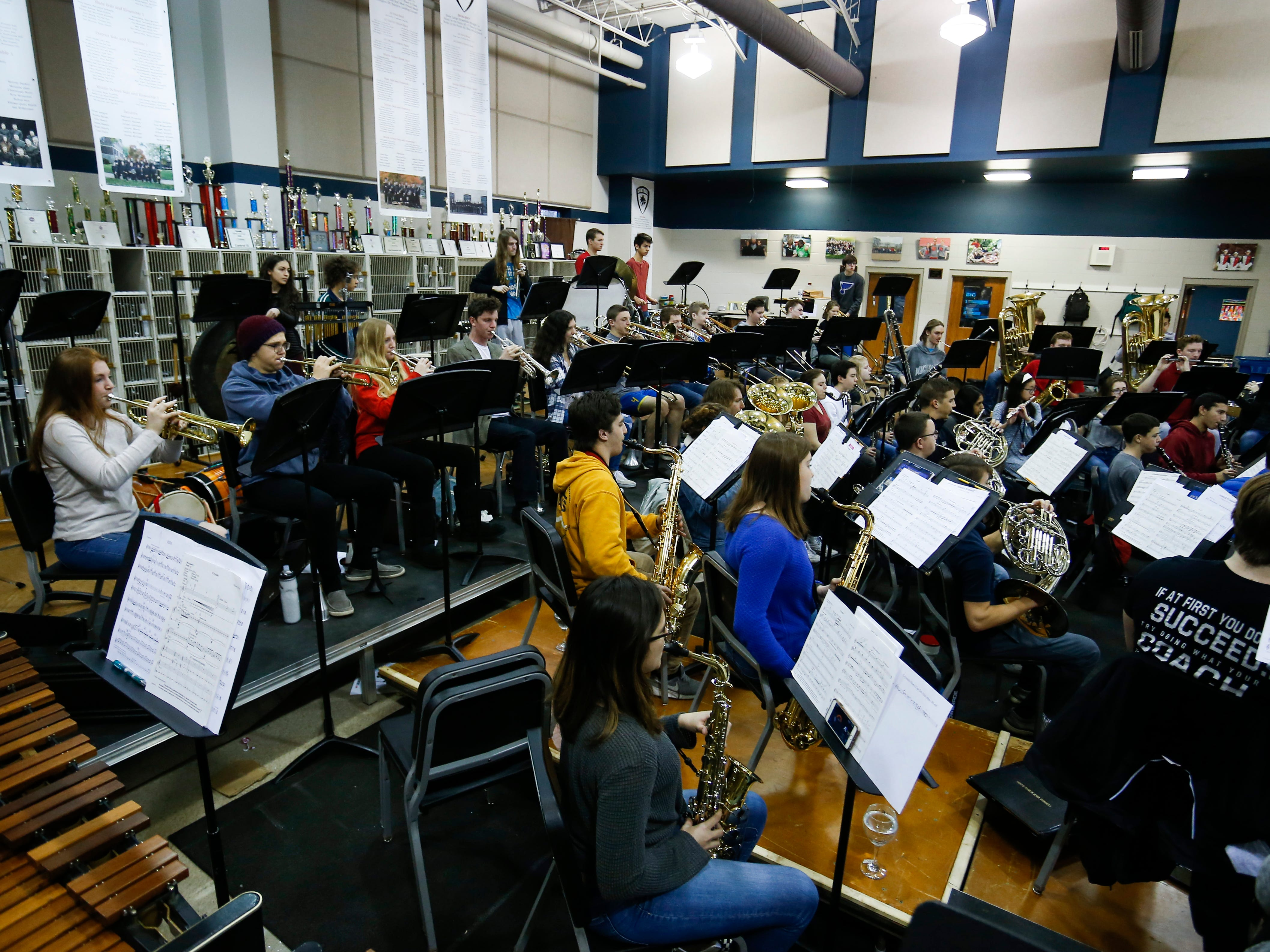 The Central High School wind ensemble practice during class on Wednesday, Jan. 16, 2018. The 53-student wind ensemble will be featured at the annual state conference of the Missouri Music Educators Association next week.