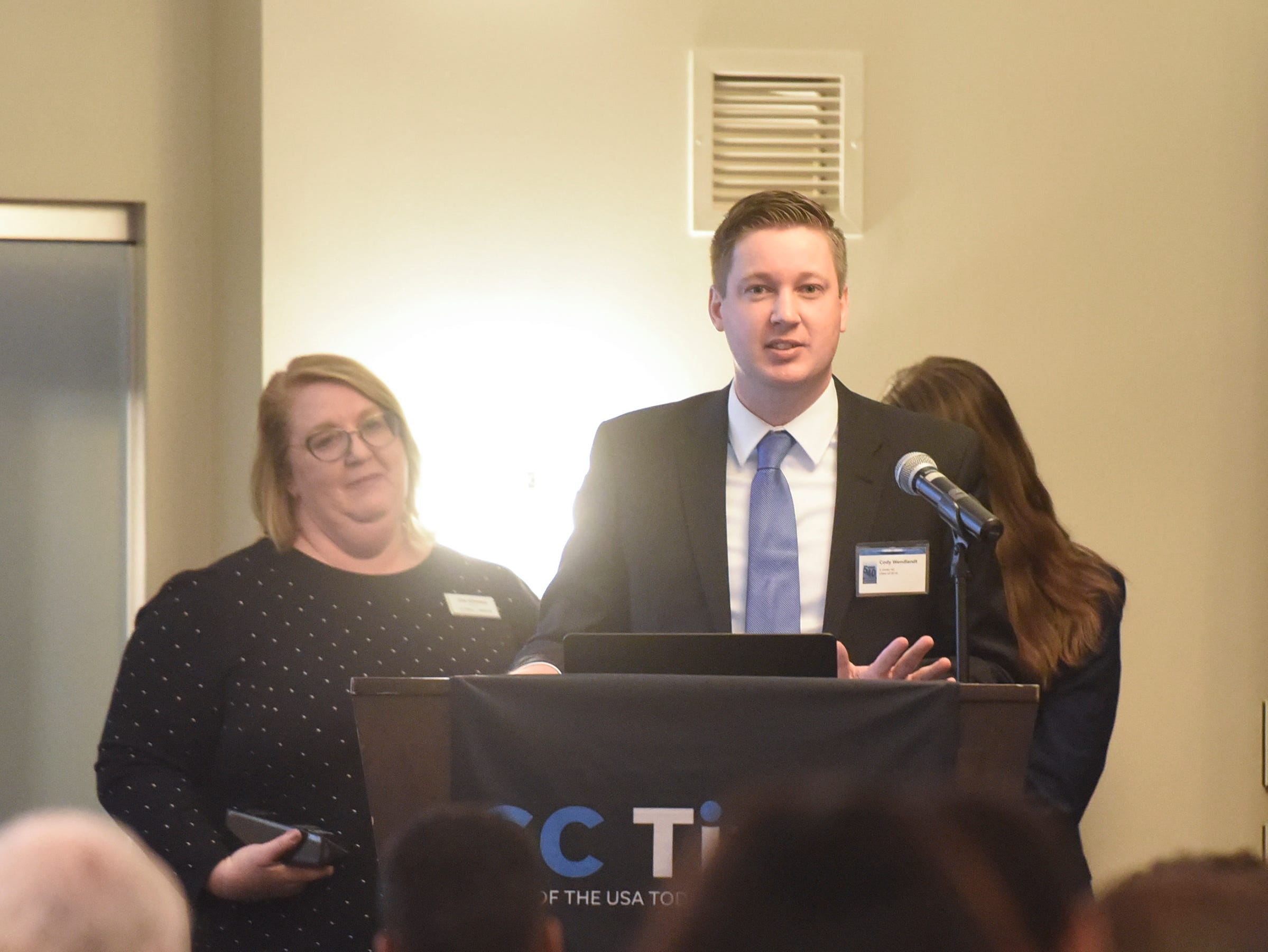 Cody Wendlandt speaks during the 5 Under 40 Awards program Tuesday, Jan. 15, in St. Cloud.