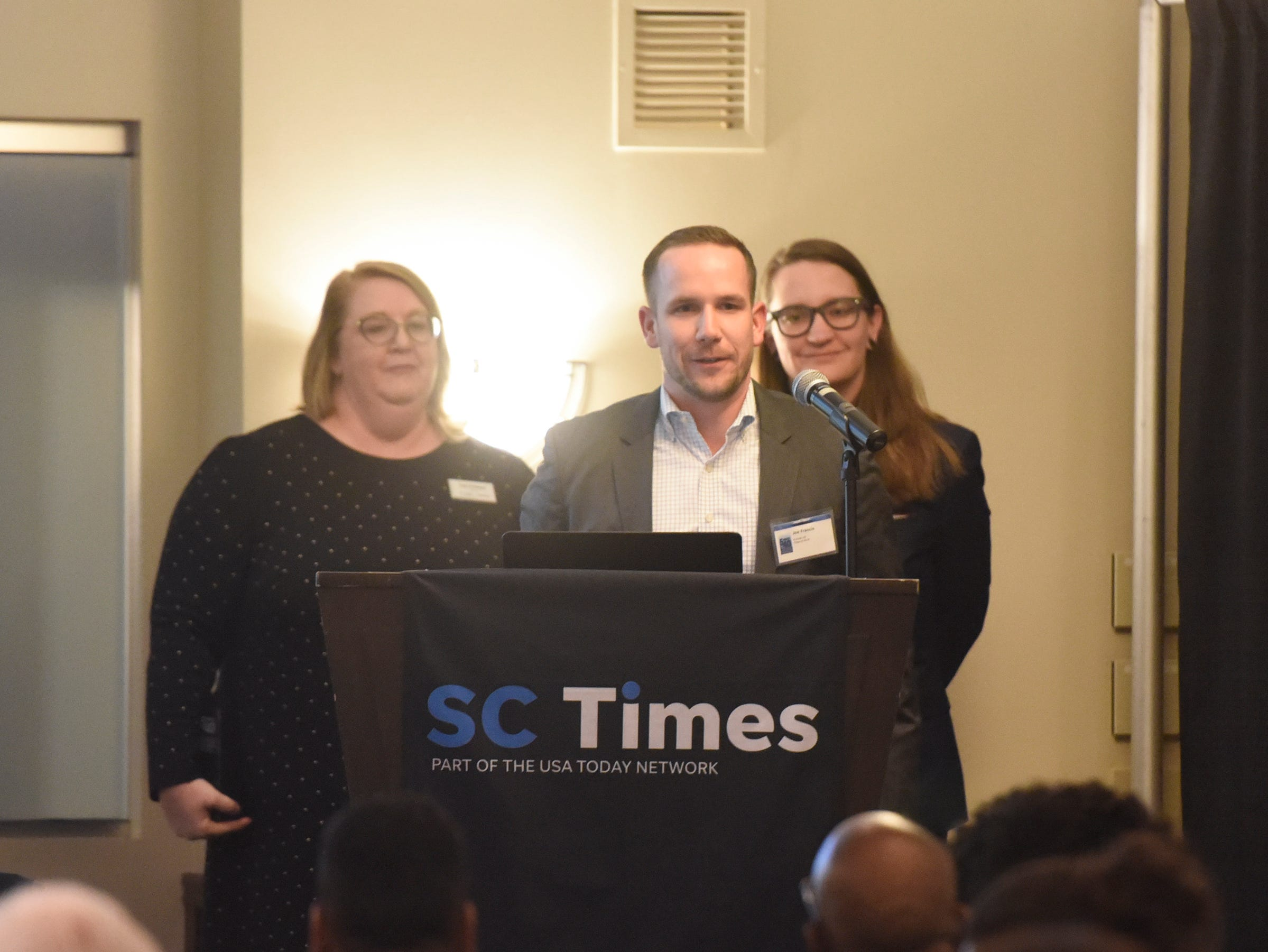 Joe Francis speaks after receiving his award during the 5 Under 40 Awards program Tuesday, Jan. 15, in St. Cloud.