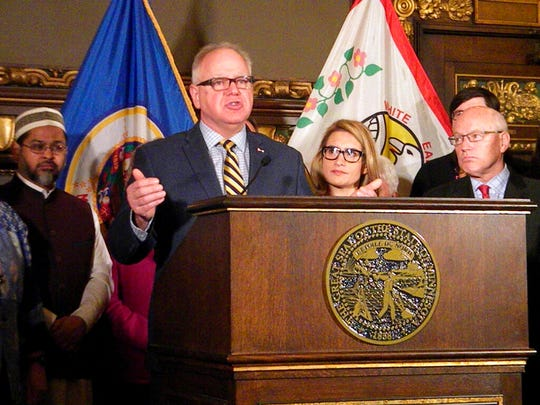 Minnesota Gov. Tim Walz speaks during a news conference Tuesday, Jan. 15, in St. Paul.