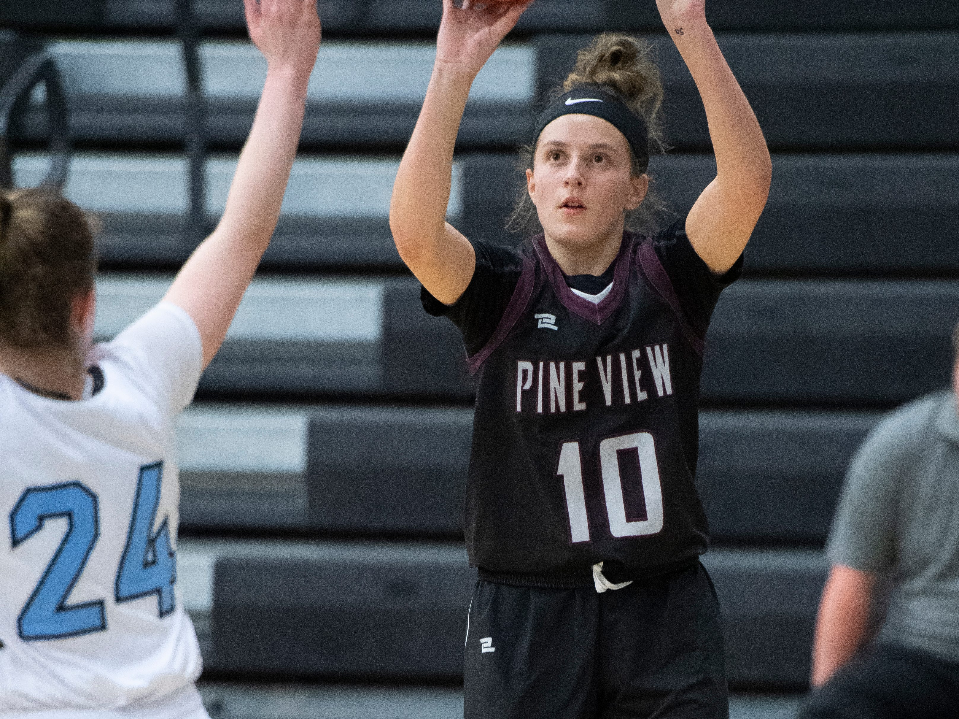 Pine View High School sophomore Alexandra Olson (10) makes a basket against Canyon View at CVHS Tuesday, January 15, 2019. The CVHS Falcons won, 48-46.